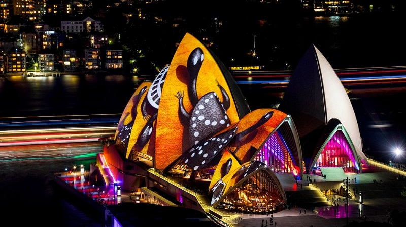 """Songlines"" at the Sydney Opera House appears on May 27, 2016. Photo by James Horan/Destination NSW via Vivid Sydney"
