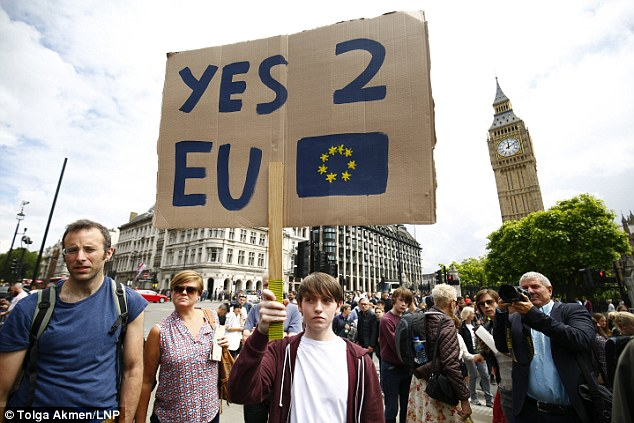 Demonstrators waved EU flags, held posters saying 'Yes 2 EU' and banners claiming the older population had 'stole our future'