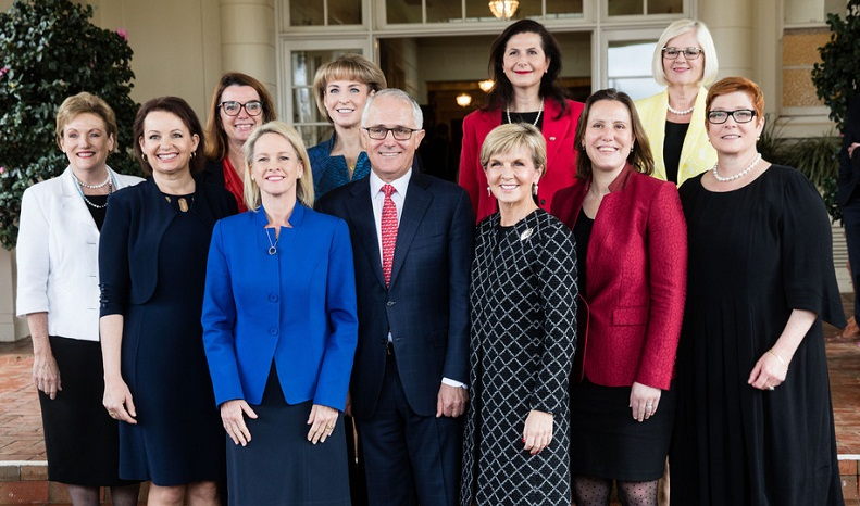 Female ministers and assistant ministers pose with Malcolm Turnbull after a swearing-in ceremony at Government House on Tuesday. Andrew Taylor/AAP