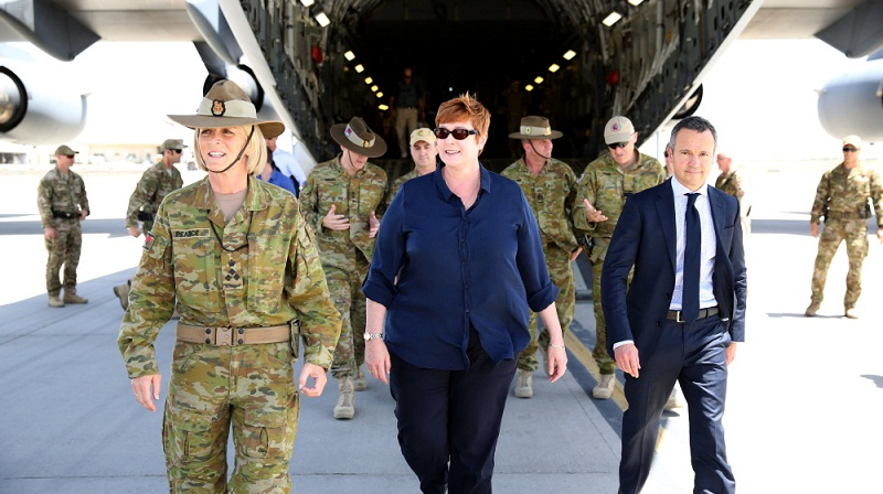 Minister for Defence, Senator the Hon Marise Payne, MP (centre) is greeted and escorted off the Royal Australian Air Force C-17 Globemaster at Hamid Karzai International Airport by (left) Brigadier Cheryl Pearce, Commander Task Group Afghanistan and (right) the Ambassador to Afghanistan Mr Richard Feakes.