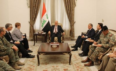 Minister for Defence Senator the Hon Marise Payne meets Iraqi Prime Minister Mr Haider al-Abadi (centre) and Defence Minister Mr Khaled al-Obeidi (to his left) during a visit to Baghdad.