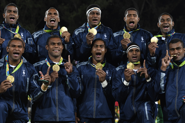 Fiji rugby team all smiles after winning Gold medal  at Rio 2016 Olympics