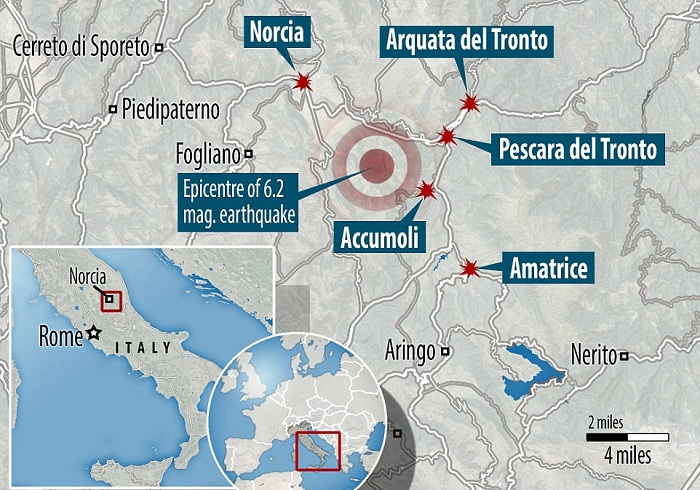 A map showing the location of Amatrice in Central Italy