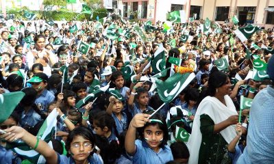 Students of Saint Marry school in Hyderabad carry out pre- Independence Day celebrations. Photo: APP