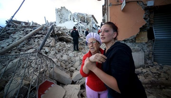 Residents react to the devastating damage after the Italy earthquake
