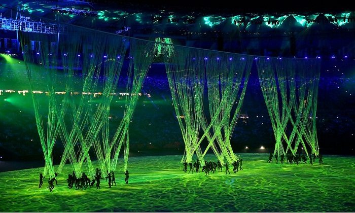 Dancers perform during the opening ceremony of the 2016 Summer Olympics in Rio de Janeiro, Brazil, Friday