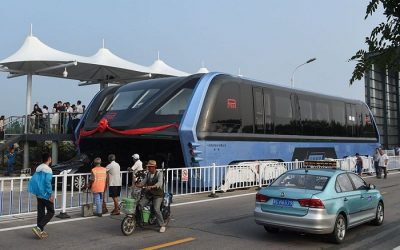 China's straddling Transit Elevated Bus went on its first road test in Qinhuangdao City