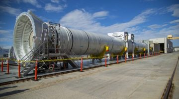 A full-scale, test version of the booster for NASA's new rocket, the Space Launch System. Credits: NASA