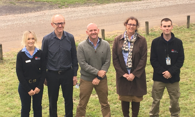 Minister Niall Blair with plant biosecurity officer Martin Horwood, district vet Lisa Goodchild and biosecurity officers Annaliese Geddes and Joshua Topham.