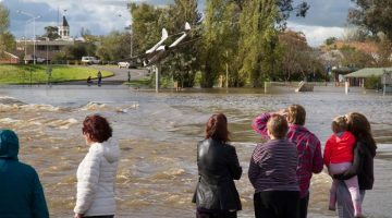 People watch the rising floodwater at Lake Forbes, Forbes, NSW. Photo: ABC News/Luke Wong