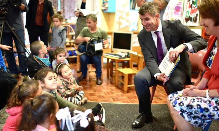 NSW Premier Mike Baird and Early Childhood Education Minister Leslie Williams read to children at Wunanbiri Pre-School.