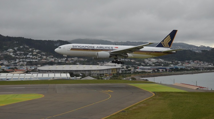 Singapore Airlines' 9V-SRP arrives at Wellington Airport. Photo: Gary Hollier