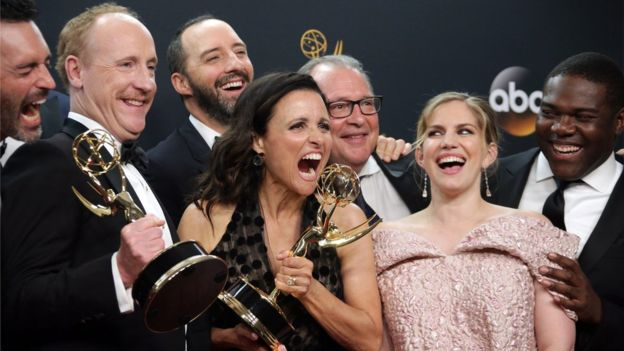 Veep won best comedy series and best comedy actress for Julia Louis-Dreyfus (centre)