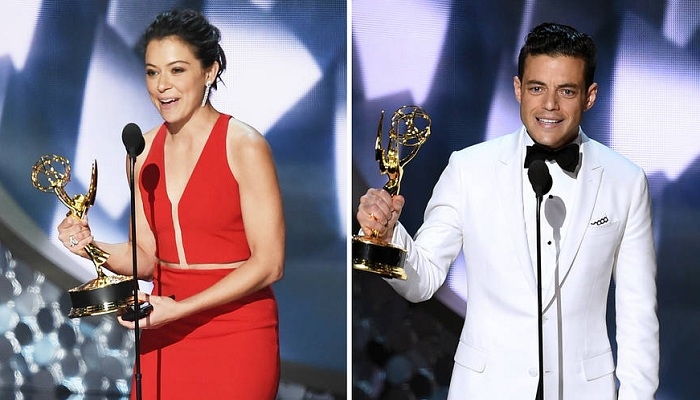(Left to right) Tatiana Maslany accepts Outstanding Lead Actress in a Drama Series for Orphan Black. Rami Malek accepting his award for Outstanding Lead Actor in a drama series for Mr Robot