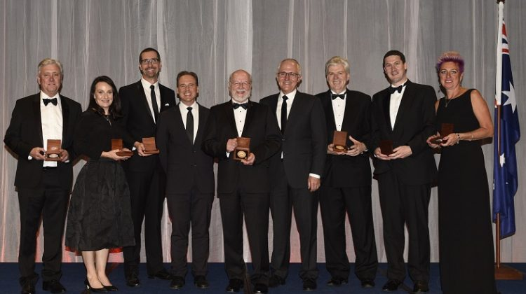 L-R: Gary Tilley, Kerrie Wilson, Colin Hall, Minister Greg Hunt, Rick Shine, Prime Minister Malcolm Turnbull, Michael Aitken, Richard Payne, and Suzy Urbaniak (Photo credit: Prime Minister's Prizes for Science)