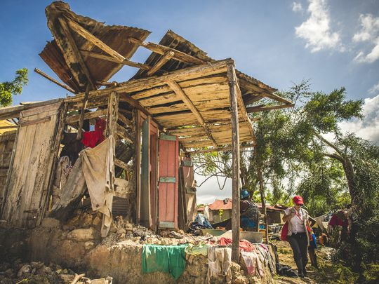 A house that was hit hard by Hurricane Matthew in Nippes, Haiti. (Photo: Sean Sheridan, Mercy Corps)