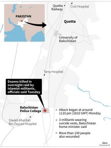 Militants storm police training academy in Quetta on 24 October 2016