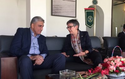 Australian High Commissioner to Pakistan Margaret Adamson with Lt Gen Qamar Javed Bajwa during T20 cricket match between Australian Army and Pakistan Army in Lahore, Pakistan.