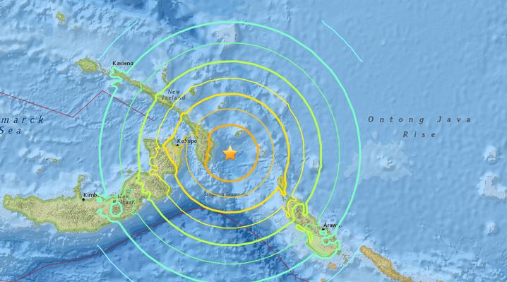 Magnitude 7.9 earthquake strikes off the coast of Papua New Guinea