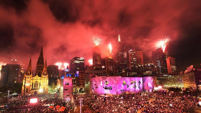 New Year celebrations at Federation Square Melbourne. Photo: Rob Leeson