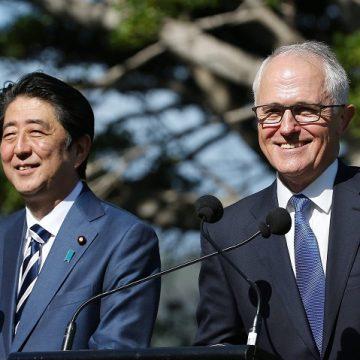 Shinzo Abe and Malcolm Turnbull talk to the media at Kirribilli House in Sydney. Photo: David Moir/EPA