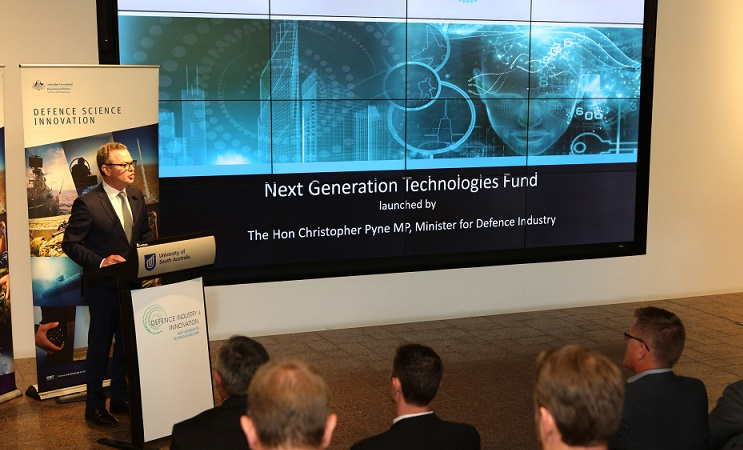 Hon Christopher Pyne MP, Minister for Defence Industry launches The Next Generation Technologies Fund at the Jeffrey Smart Building of the University of South Australia.