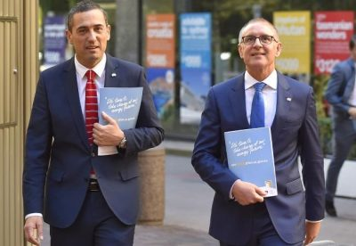 South Australian Premier Jay Weatherill MP (right) and Energy Minister Tom Koutsantonis.