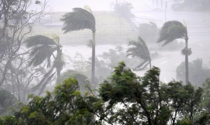 Strong wind and rain from Cyclone Debbie is seen effecting trees at Airlie Beach, located south of the northern Australian city of Townsville. AAP/Dan Peled/via REUTERS