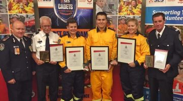 NSW RFS Cadet of the Year Javen Ricevuto (Balranald Central School) and NSW RFS Young Volunteer of the Year Alexander Slade (12-15 years) from Williamtown/Salt Ash Brigade and Elizabeth Butt (16-25 years) from Bendick Murrell Brigade.