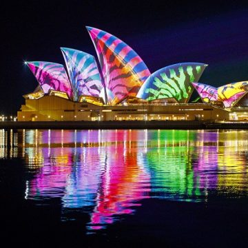 Vivid Sydney 2017, Sydney Opera House, Lighting of The Sails Audio Creatures 24/5/2017 Photo James Horan