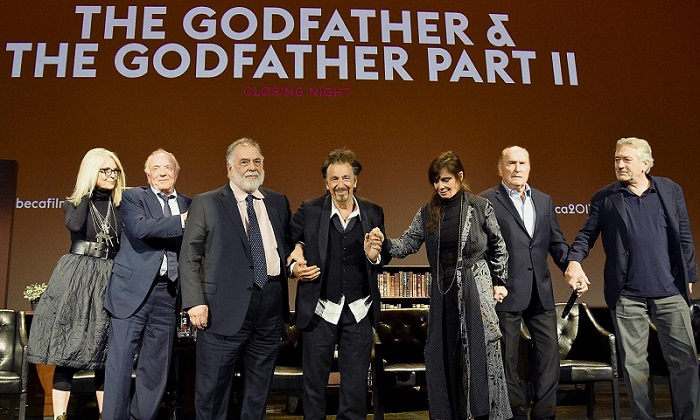 Diane Keaton, James Caan, Francis Ford Coppola, Al Pacino, Talia Shire, Robert Duvall and Robert DeNiro take a bow on stage during the panel for 'The Godfather' 45th Anniversary Screening during 2017 Tribeca Film Festival closing night at Radio City Music Hall Getty Images