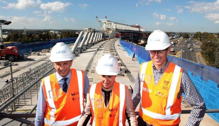 L-R Transport minister Andrew Constance, NSW Premier Gladys Berejiklian and Rodd Staples program director for Sydney Metro pictured at the Windsor Rd Bridge construction site for Sydney Metro at Rouse Hill on May 8, 2017 in Sydney, Australia. (Photo by Ben Rushton/Fairfax Media)