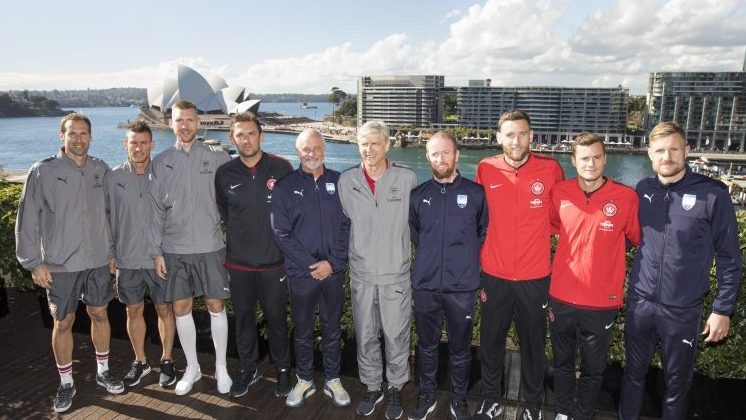 Arsenal Manager Arsene Wenger (centre) is joined by Sydney FC coach Graham Arnold, Western Sydney Wanderers coach Tony Popovic and a selection of Arsenal, Sydney FC and Wanderers players at Museum of Contemporary Art in Sydney today. Picture: Destination NSW.