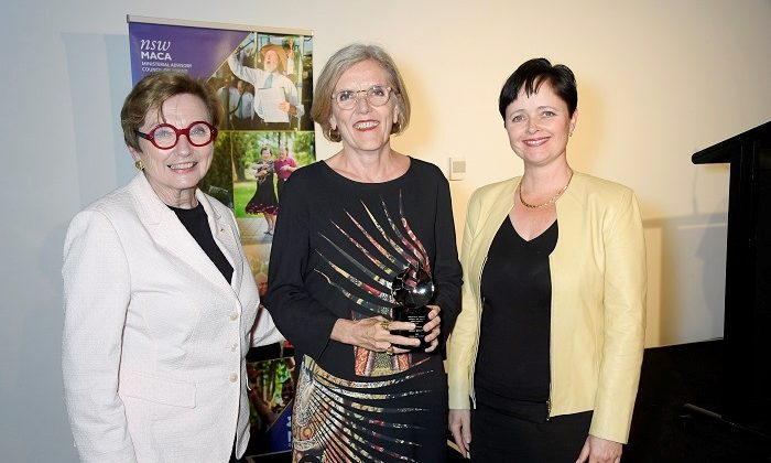 Chair of MACA Kathryn Greiner AO, Jenny Brockie (Gold Award winner), and NSW Minister for Ageing Tanya Davies