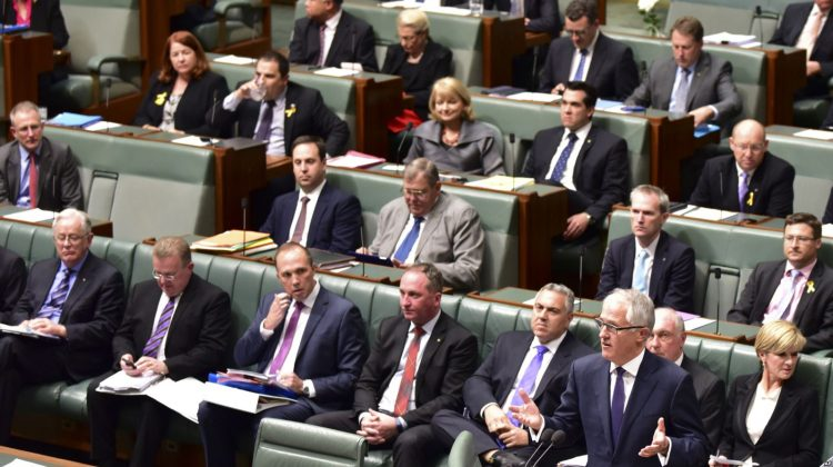 Malcolm Turnbull, bottom right, makes an address at Parliament after he was sworn in as prime minister in Canberra, Australia, Sept. 15, 2015.