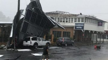 The storm ripped roofs off a number of buildings in Maclean, including the Clarence Hotel. Photo: James Ryan
