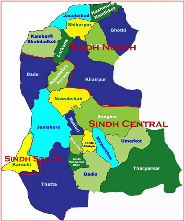 Division of Sindh Map 3 Provinces small
